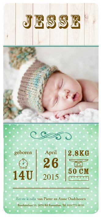 geboortekaartje weinig tekst