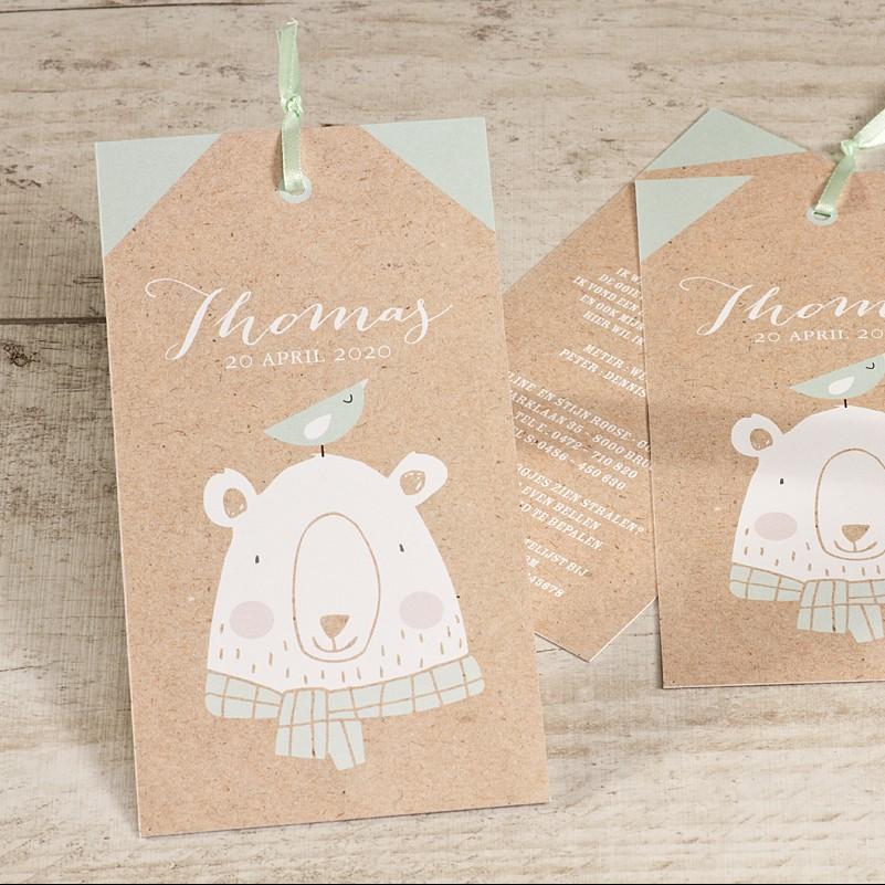 Tagkaart met vriendelijke beer