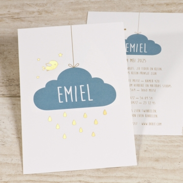 Lief geboortekaartje met wolkje