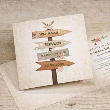 Vrolijke trouwkaart met wegwijzers