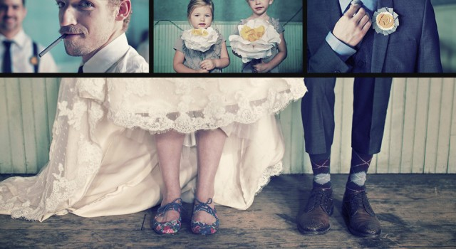 collage trouwfoto's hipster wedding