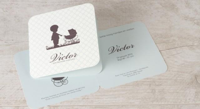 retro babykaartje geboortekaartje