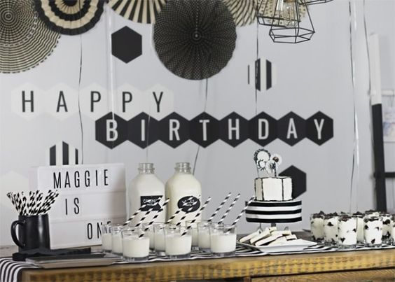 sweet 16, theme party, black and white
