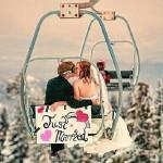 originele trouwlocaties trouwen in de winter skipiste hoofdfoto