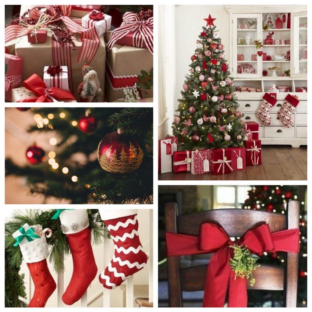 kerstboom versieren in het rood