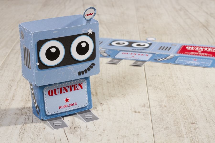 stoere geboortekaartjes voor jongens robot