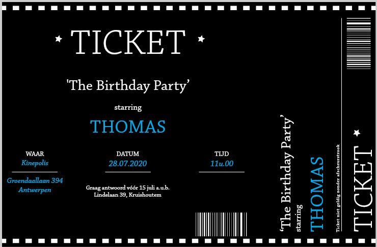 uitnodiging verjaardag kind ticket 2
