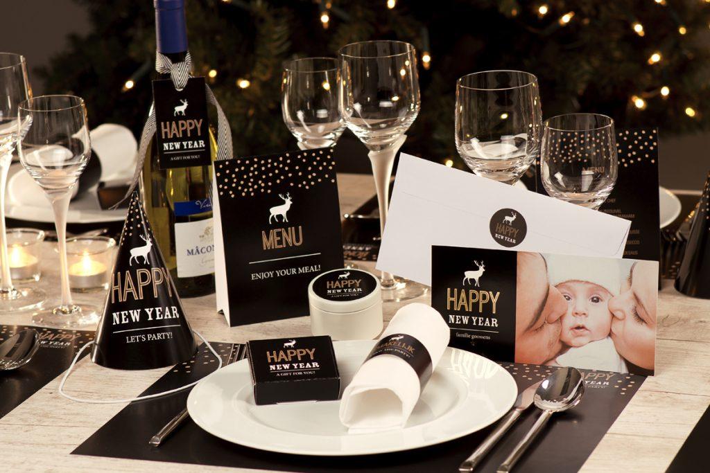 feesttafel decoratie zwart en goud