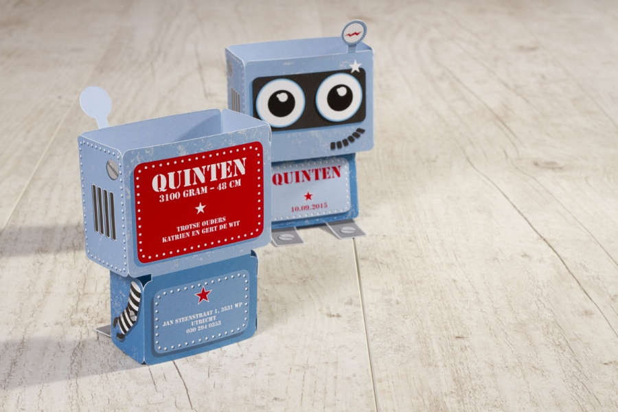 trendy geboortekaartjes maken robot