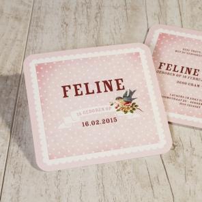 Vintage geboortekaartje roze stipjes