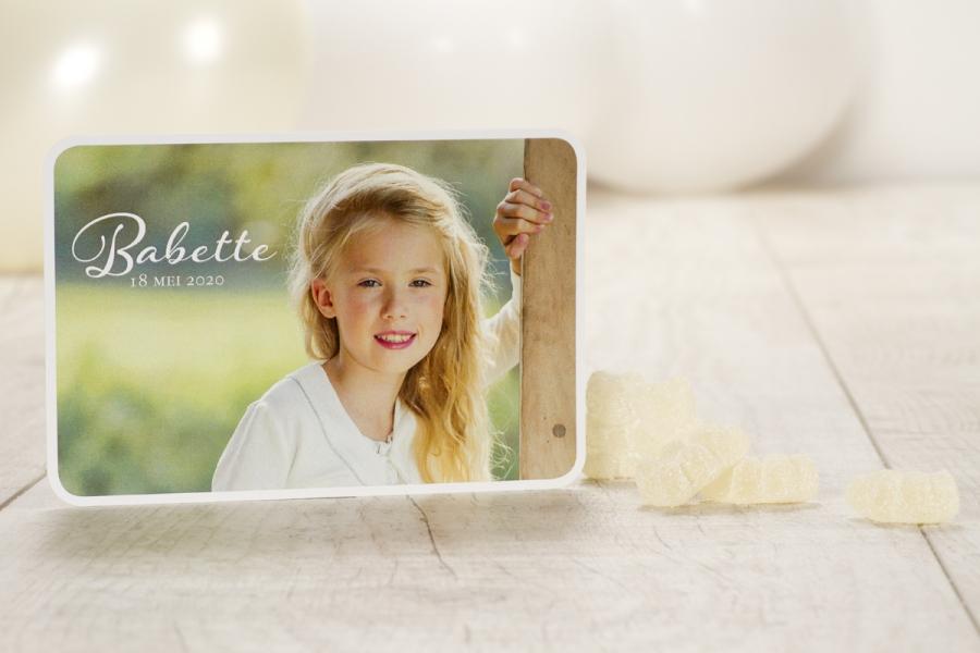 communie uitnodigingen 2015 foto meisje witte rand