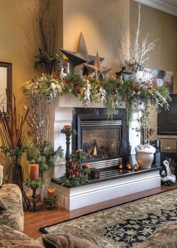 kerstdecoratie natuur in huis