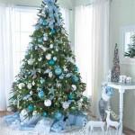 blauw kerstboom kerstversiering