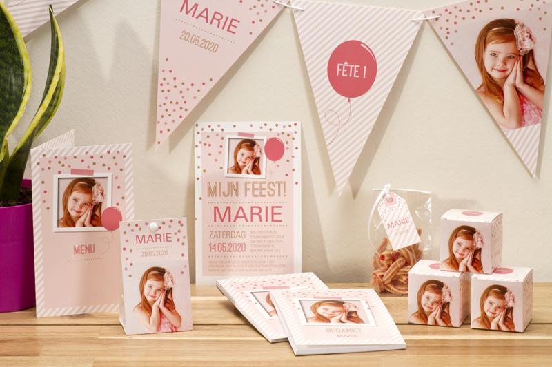 Origineel thema voor jouw communie of lentefeest: roze confetti breed NL