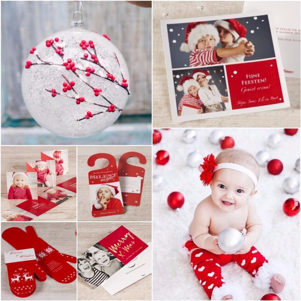 Kerstkaarten maken met rode tinten
