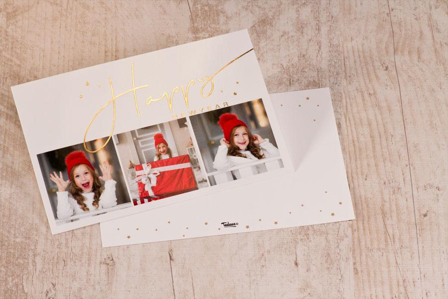 Foto kerstkaart met goudfolie wensen