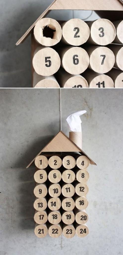 Adventkalender met WC rolletjes