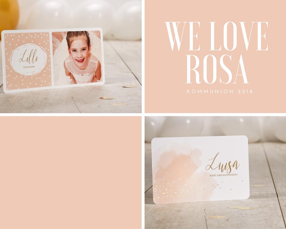 Rosa Einladung Kommunion Mädchen