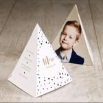 Menukaart in piramidevorm