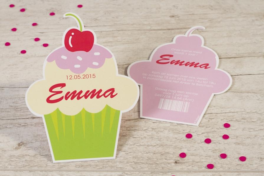 uitnodiging verjaardagsfeest prinsessenthemain cupcake vorm