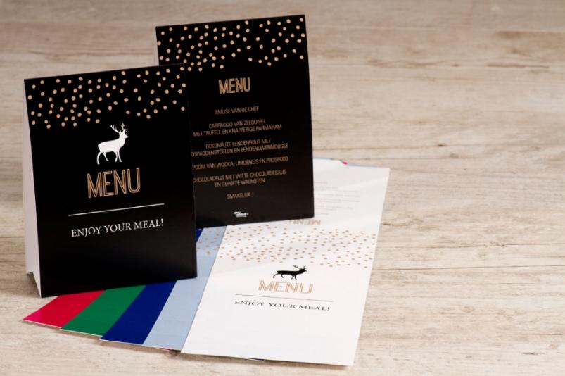 menukaart met gerechten voor kerstfeest