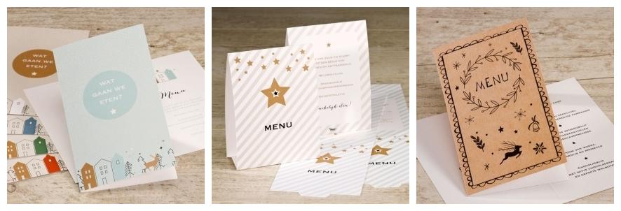 menukaart kerst tafeldecoratie kersttafel