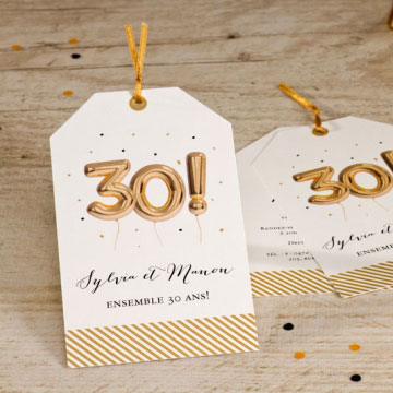 Carte invitation 30 ans de mariage