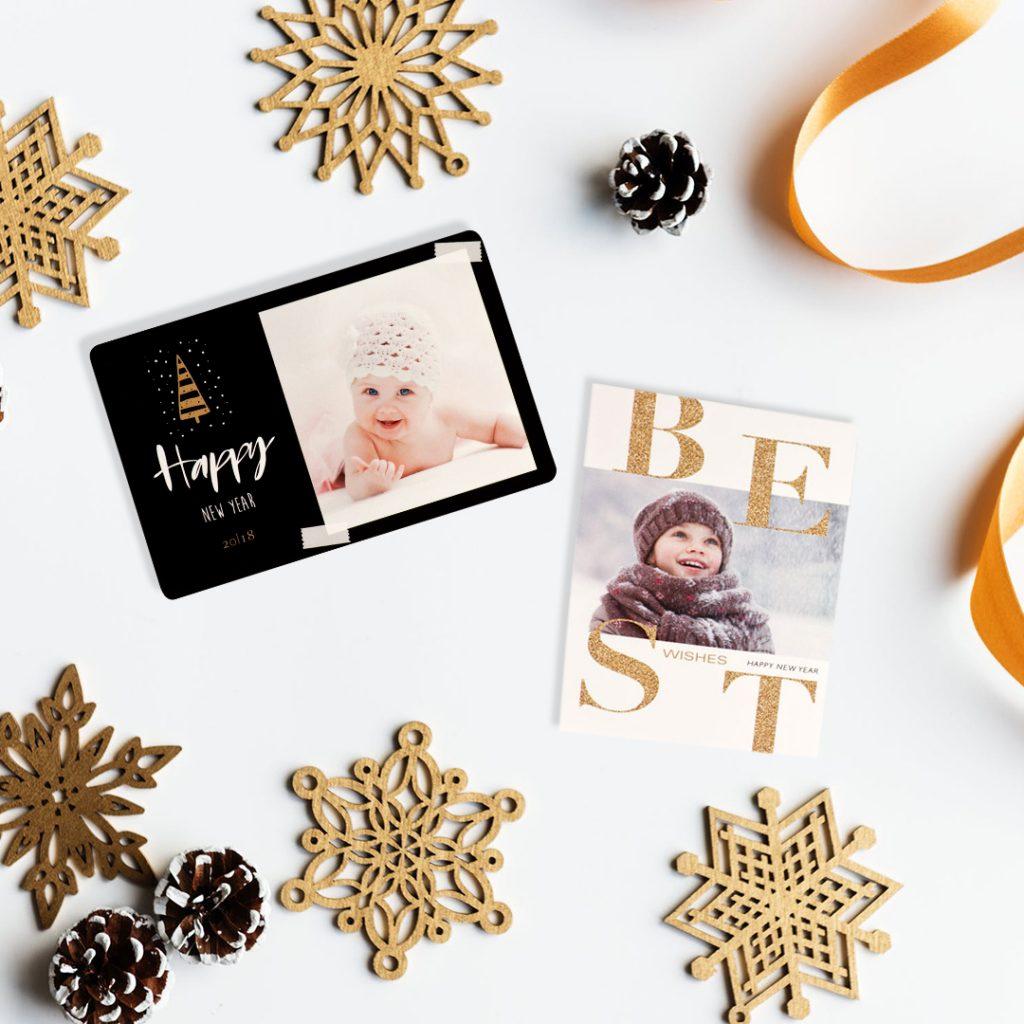 Kersttrend 2018: Kerstkaarten met goud en zwart