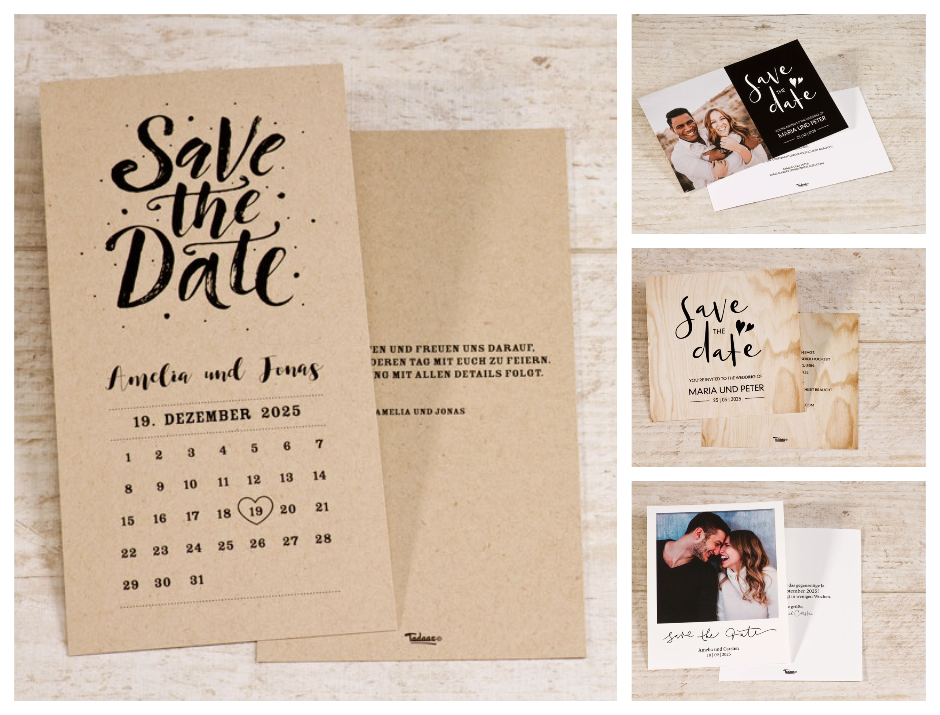Hochzeitseinladungen Save the Date KartenBOHO Hochzeit Kalender 50 Karten