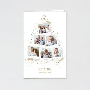Dubbele kerstkaart met polaroid kerstboom