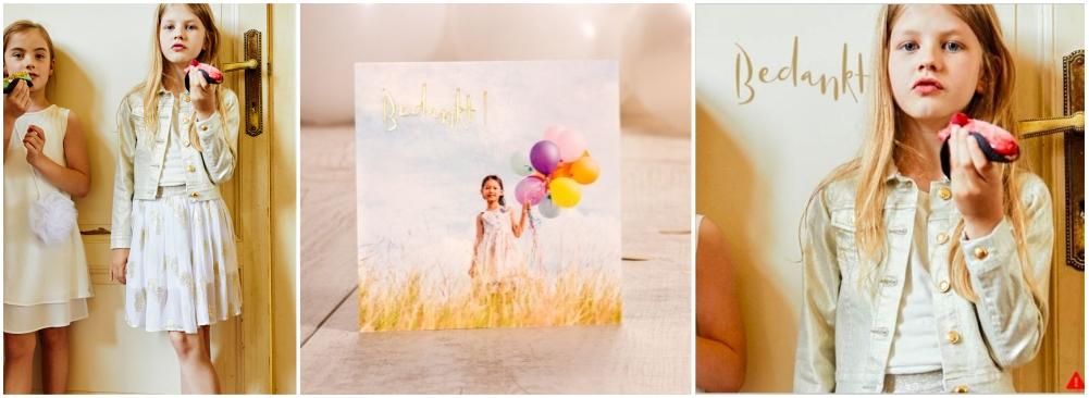Maak een bedankkaartje dat past bij je communiekledij: goud en wit