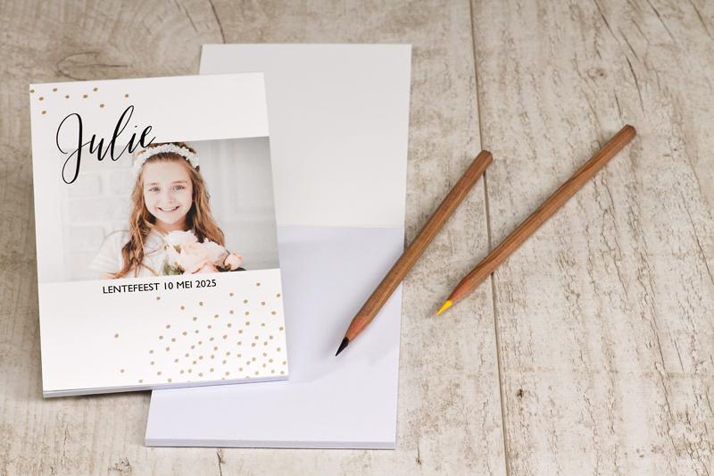 Laat je gasten een tekstje schrijven voor het gastenboek tijdens het feest. Een mooi aandenken aan de grote dag!