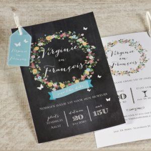 leuke bloemenuitnodiging voor jouw trouwfeest