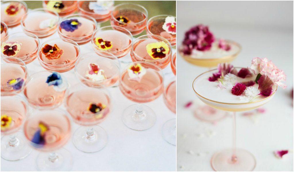 gebruik ook bloemen in jouw cocktails op je huwelijksfeest