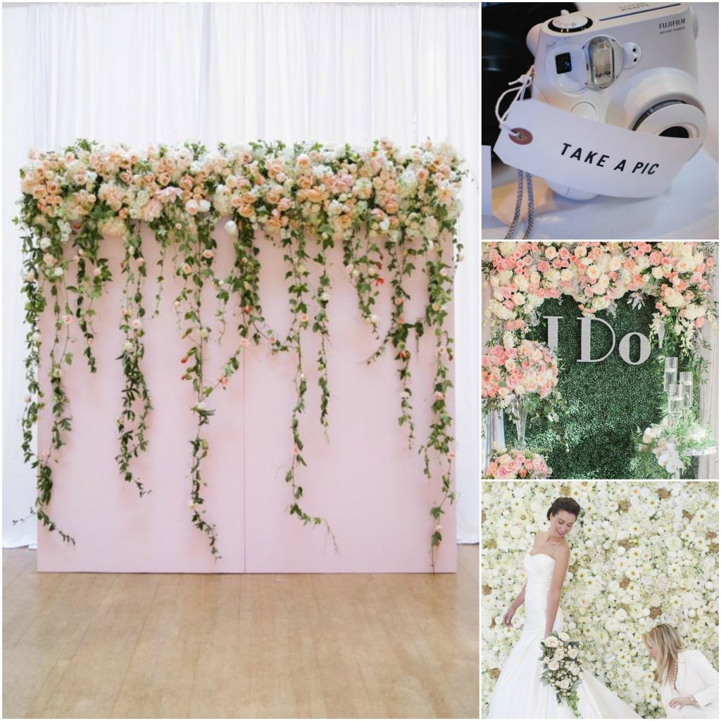 leuke fotowall in bloemenstijl als achtegrond voor jouw trouwfeestsoto's!