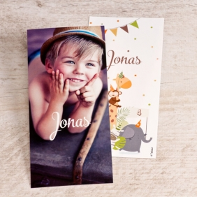 bedankkaartje in zoo thema verjaardagsfeestje