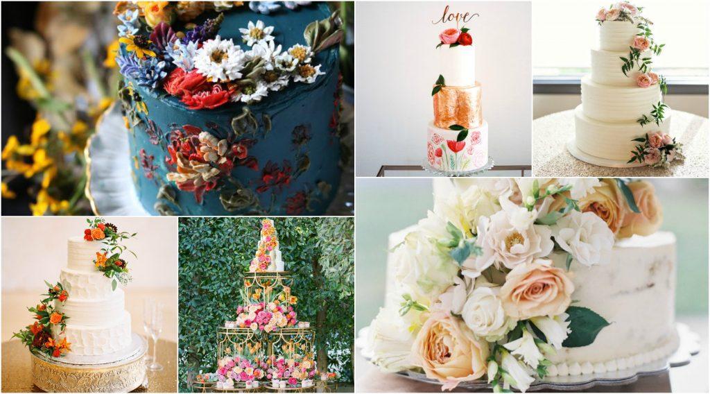 verwerk mooie bloemen in jouw huwelijkstaart