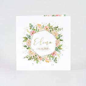 Lente geboortekaartje met bloemenkrans