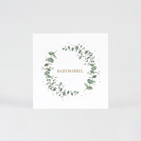 Babyborrel uitnodiging eucalyptus