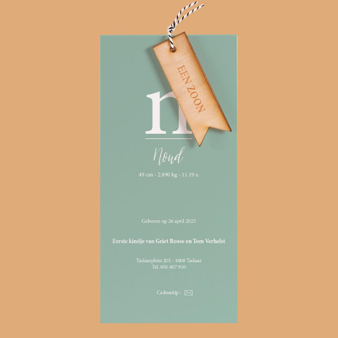 geboortekaartje met hout
