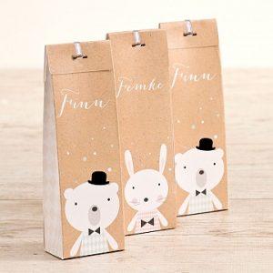 Hoog doopsuiker doosje met beer en konijn