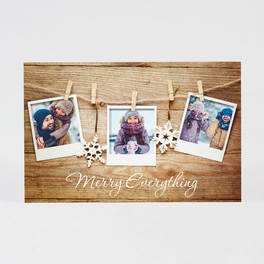 Kerstkaart met houtlook en foto's