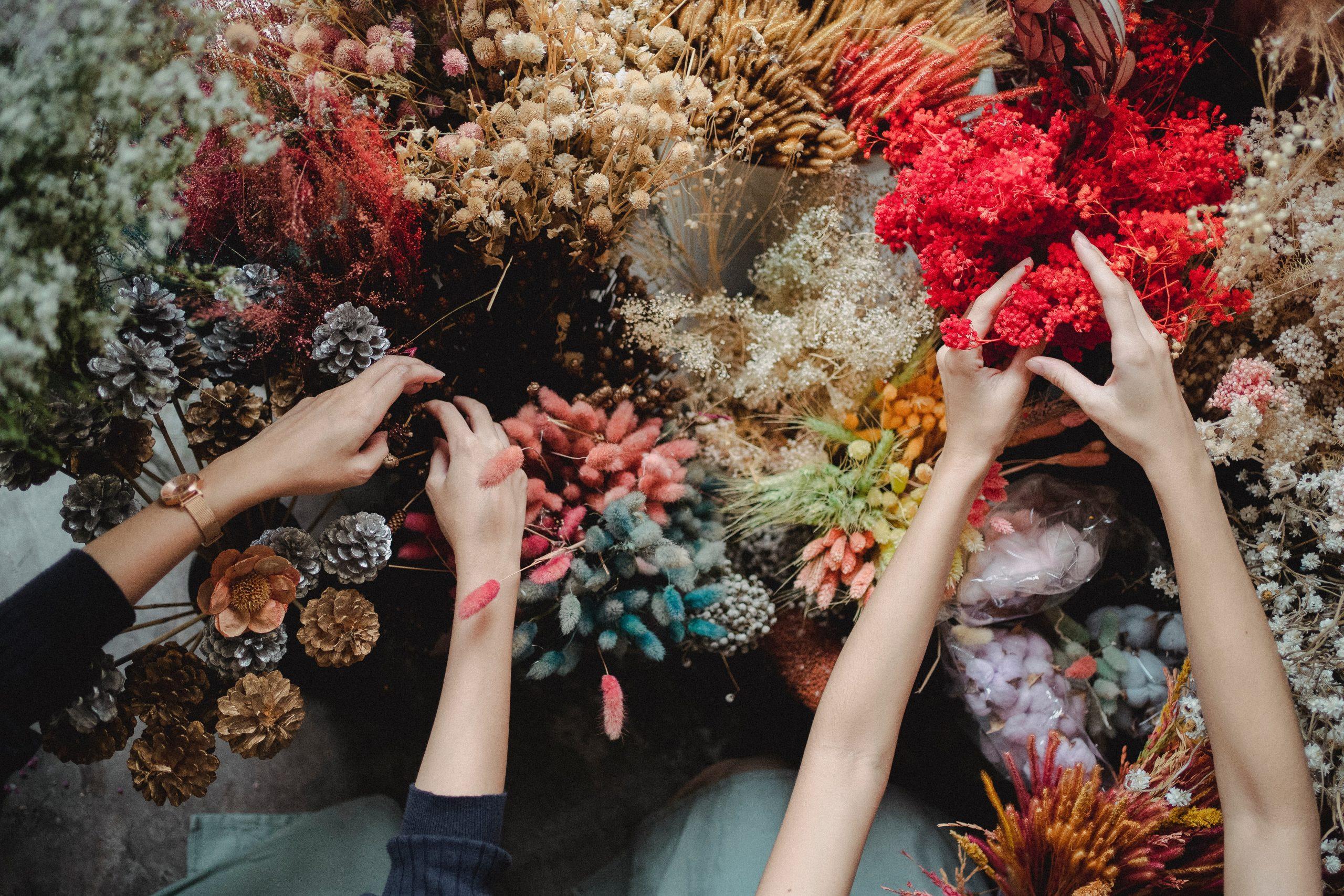 vormsel kaartjes droogbloemen