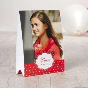 invitation à une première communion rouge fille
